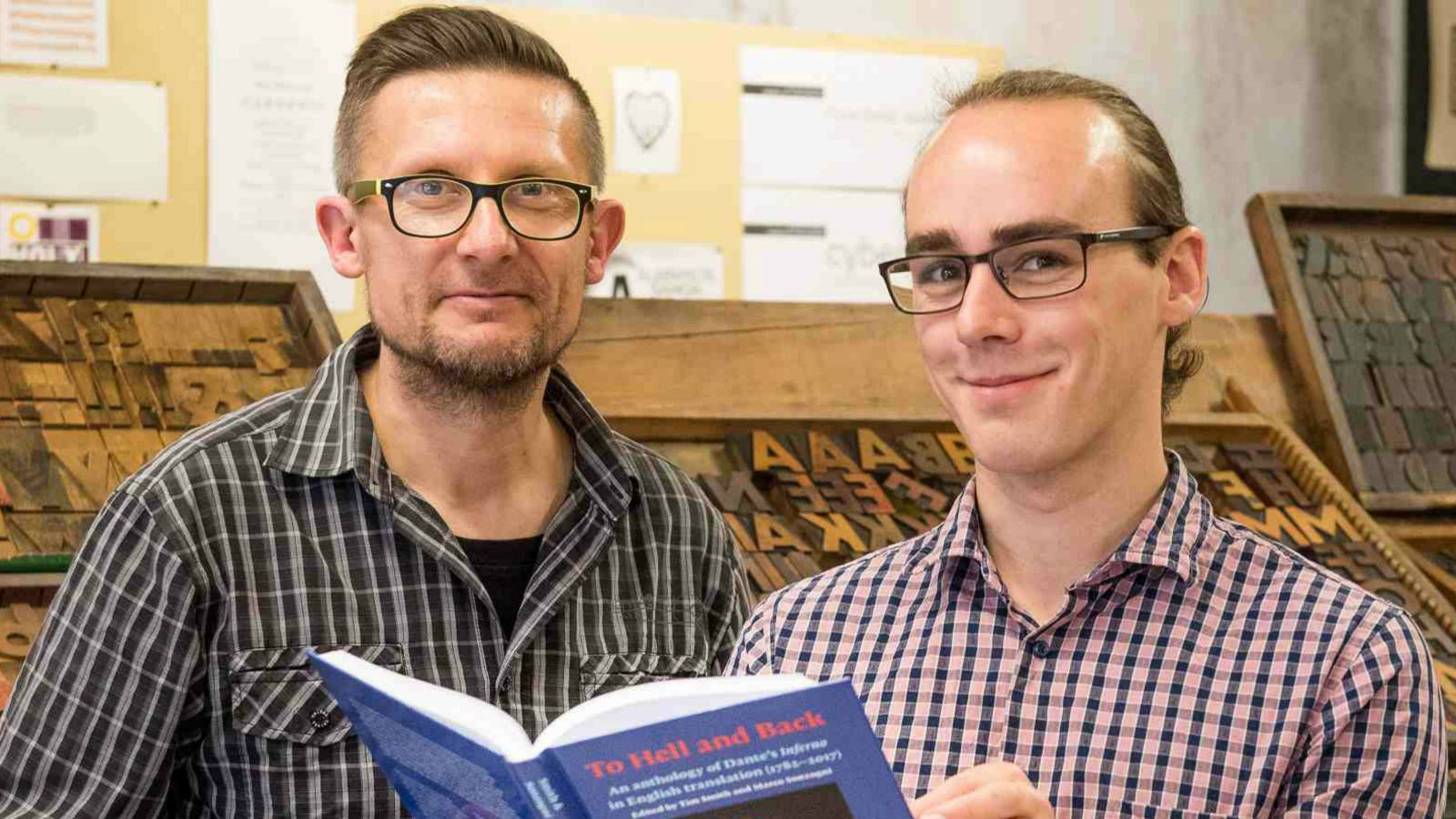 Dr Marco Sonzogni and Tim Smith with their new book, To Hell and Back, an anthology of Dante's Inferno.