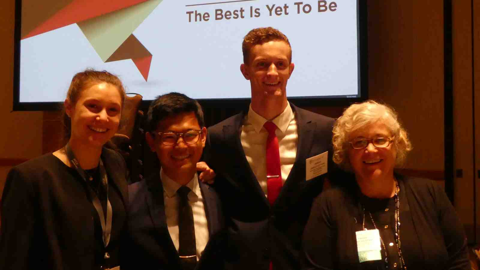 Beta Alpha Psi's Victoria University Chapter members Maria Burns, David Cheng, Jared Cotton and their Faculty advisor Trish Keeper
