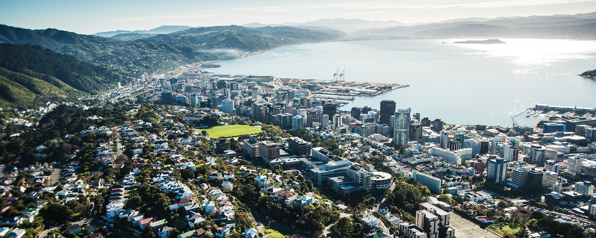Aerial image of Wellington looking out over the water.