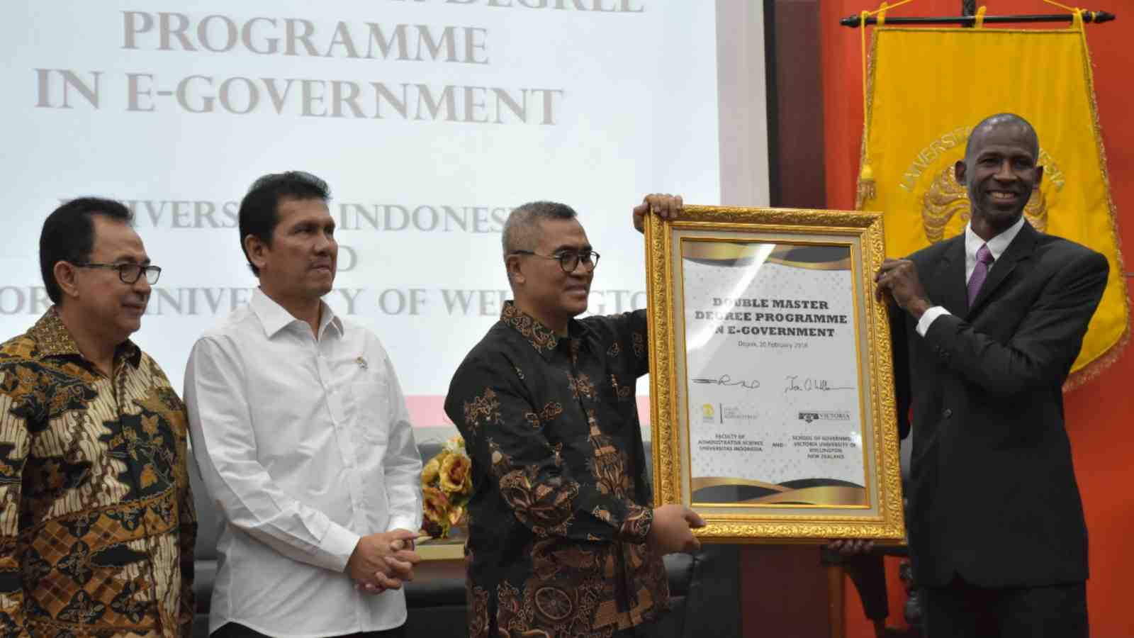 Dignitaries at double Master's degree for Indonesian civil servants