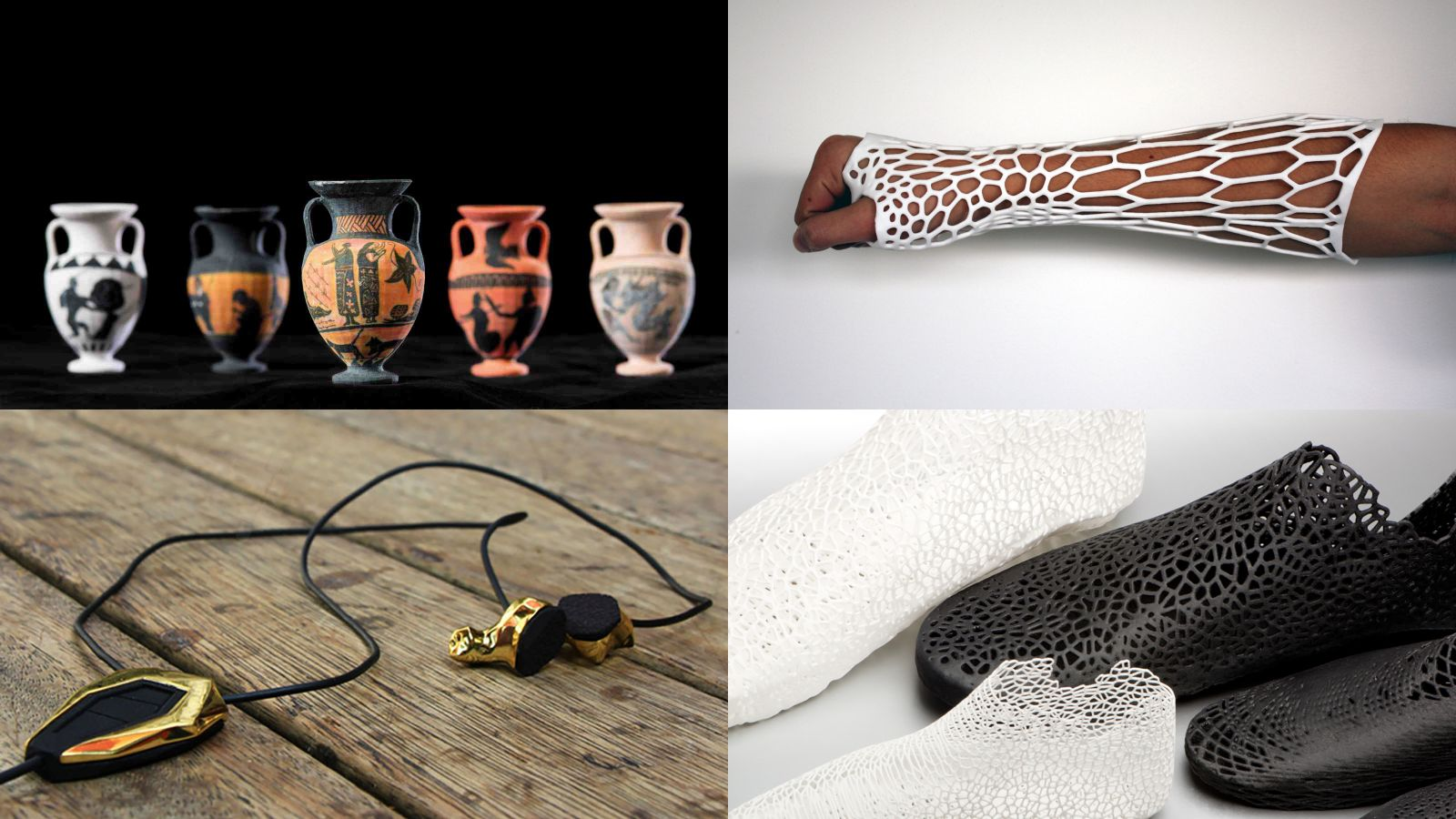 3d printed items: amphorae, a cast, fitted shoes, and headphones