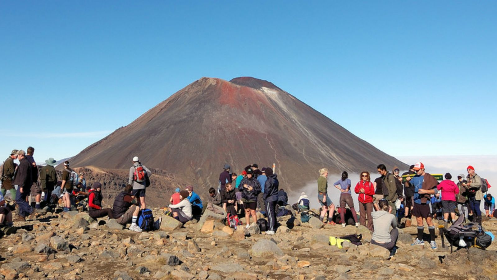 Image of tourists at Tongariro Crossing