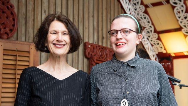 Left to Right – Professor Jennifer Windsor (Pro Vice-Chancellor of the Faculty of Humanities and Social Sciences) with Lily Pare Hall-Butcher