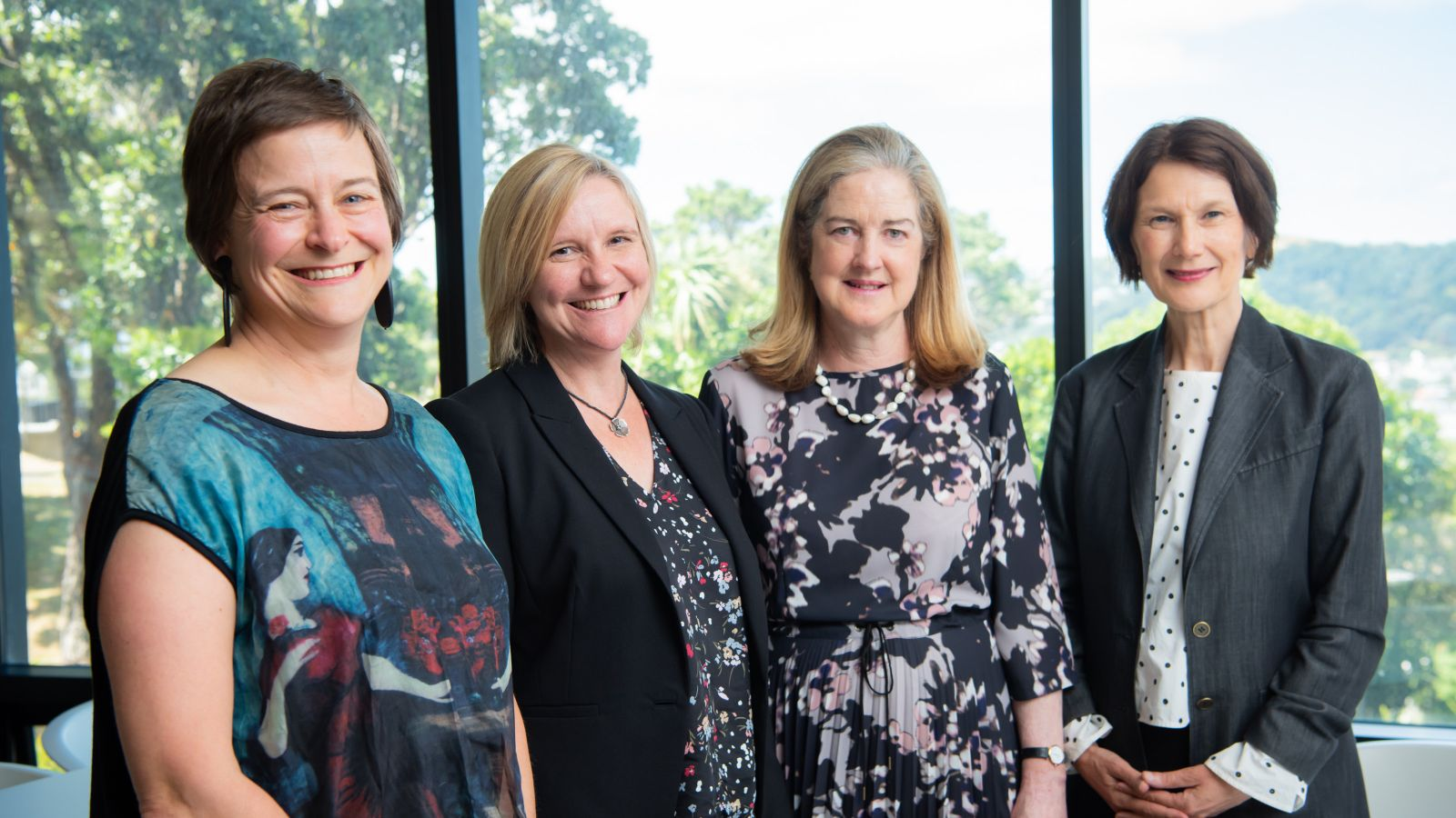 Associate Professor Kate Hunter, Professor Sarah Leggott (Dean of the Faculty of Humanities and Social Sciences), Julia Paton, Professor Jennifer Windsor (Pro-Vice-Chancellor of the Faculties of Humanities and Social Sciences and Education)