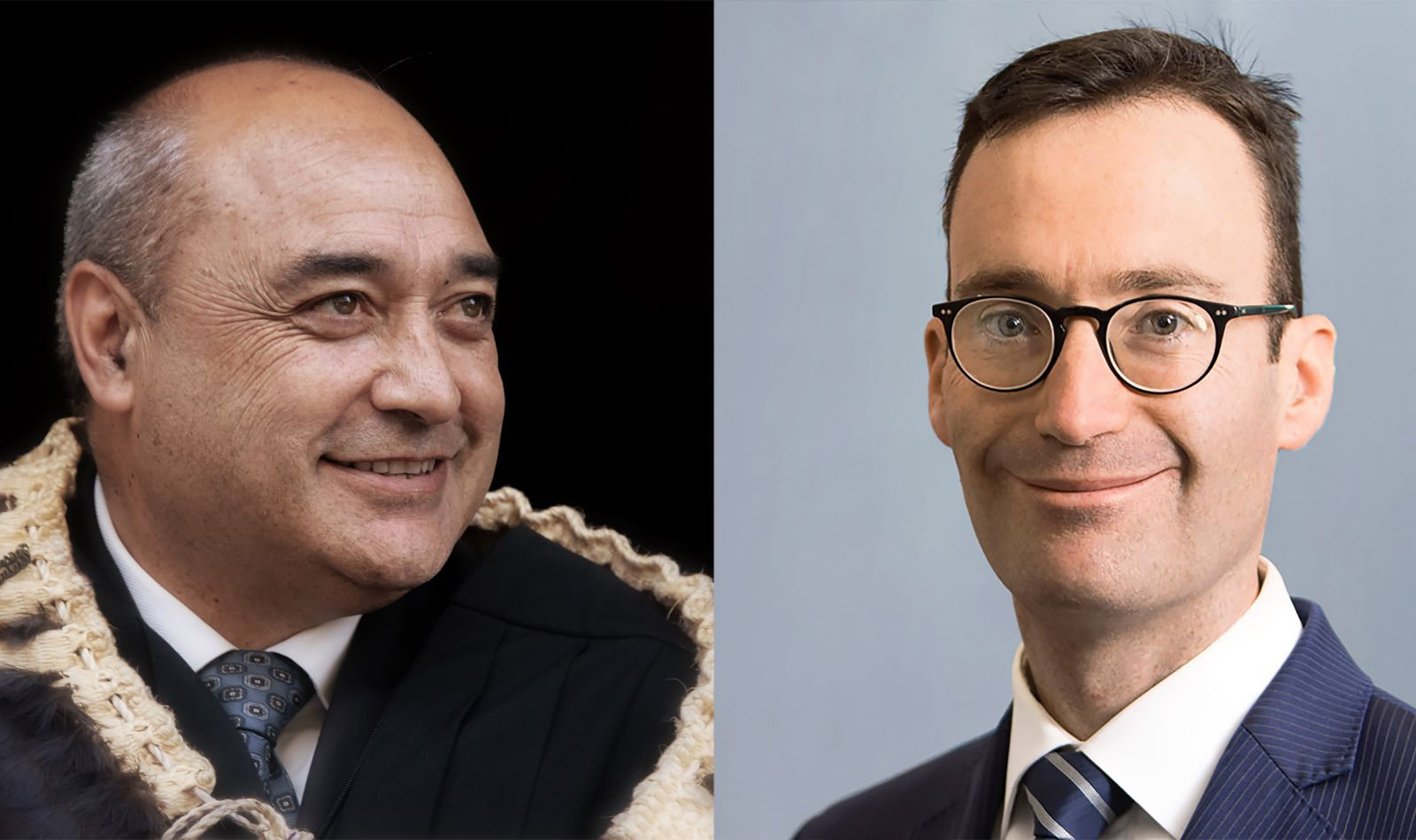 Left: Judge Taumaunu during a special court sitting held at Whangara Marae (near Gisborne) to mark his appointment. Right: Daniel Kalderimis.