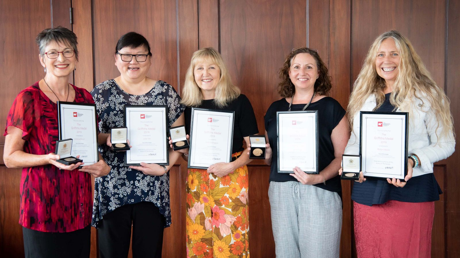 From left: Prof Vicky Mabin, Julie Yee, Sally Babington, Dr Vanessa Caldwell and Robyn Moore, Griffiths Medal winners for 2019.