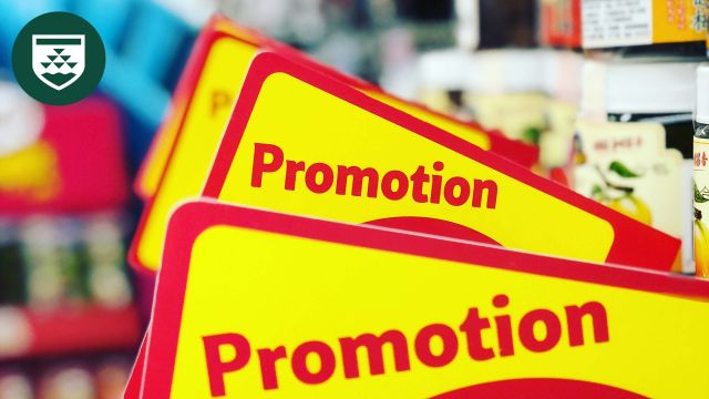 Signs in a shop labeled 'promotion'