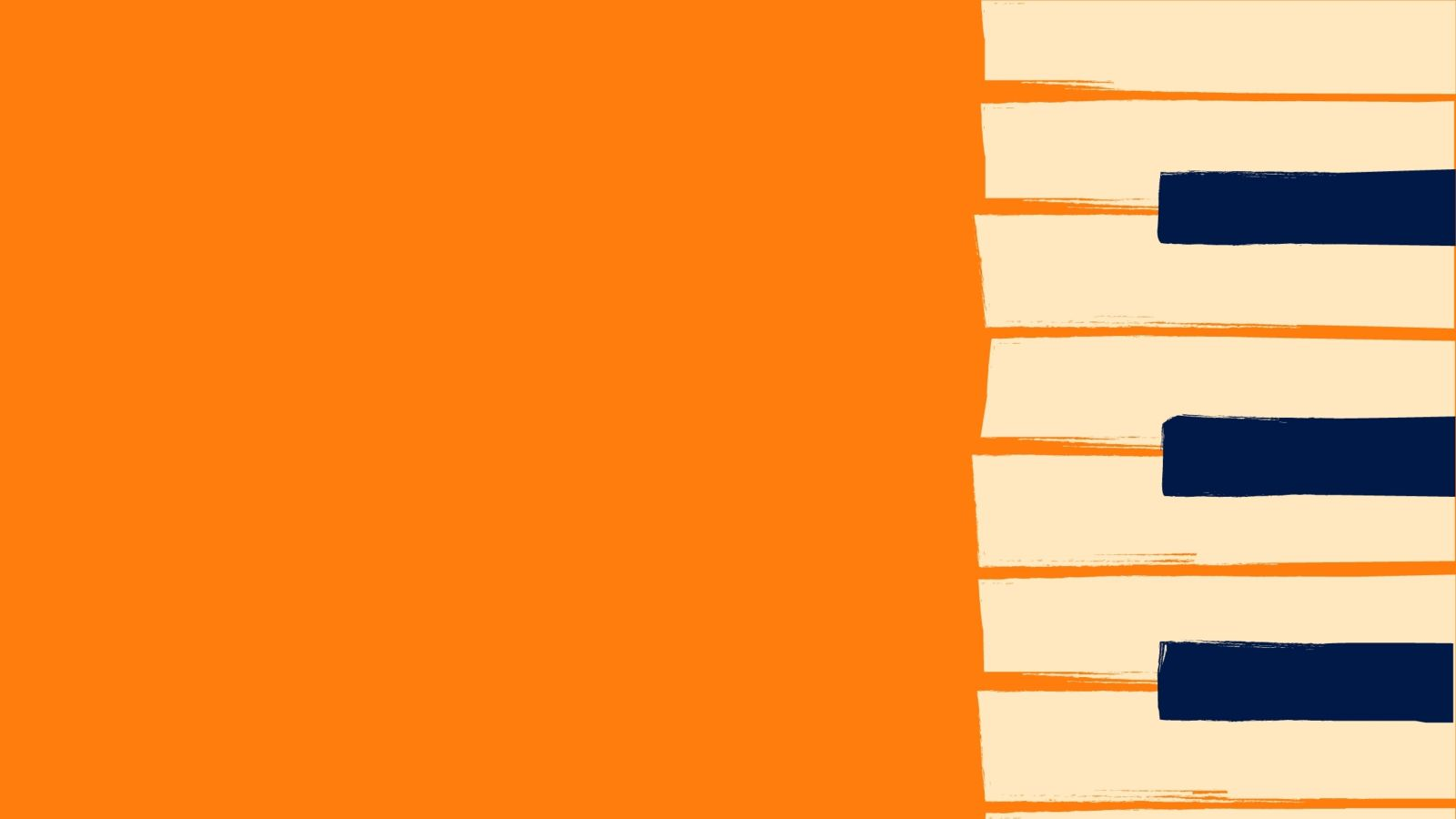 Pop art piano keys pattern on bright orange background