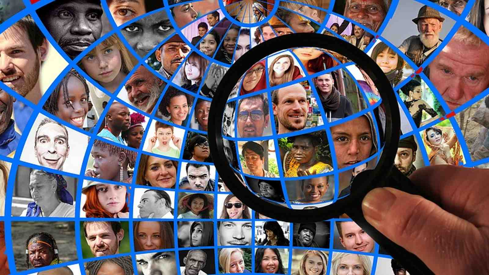Many faces under a magnifying glass.