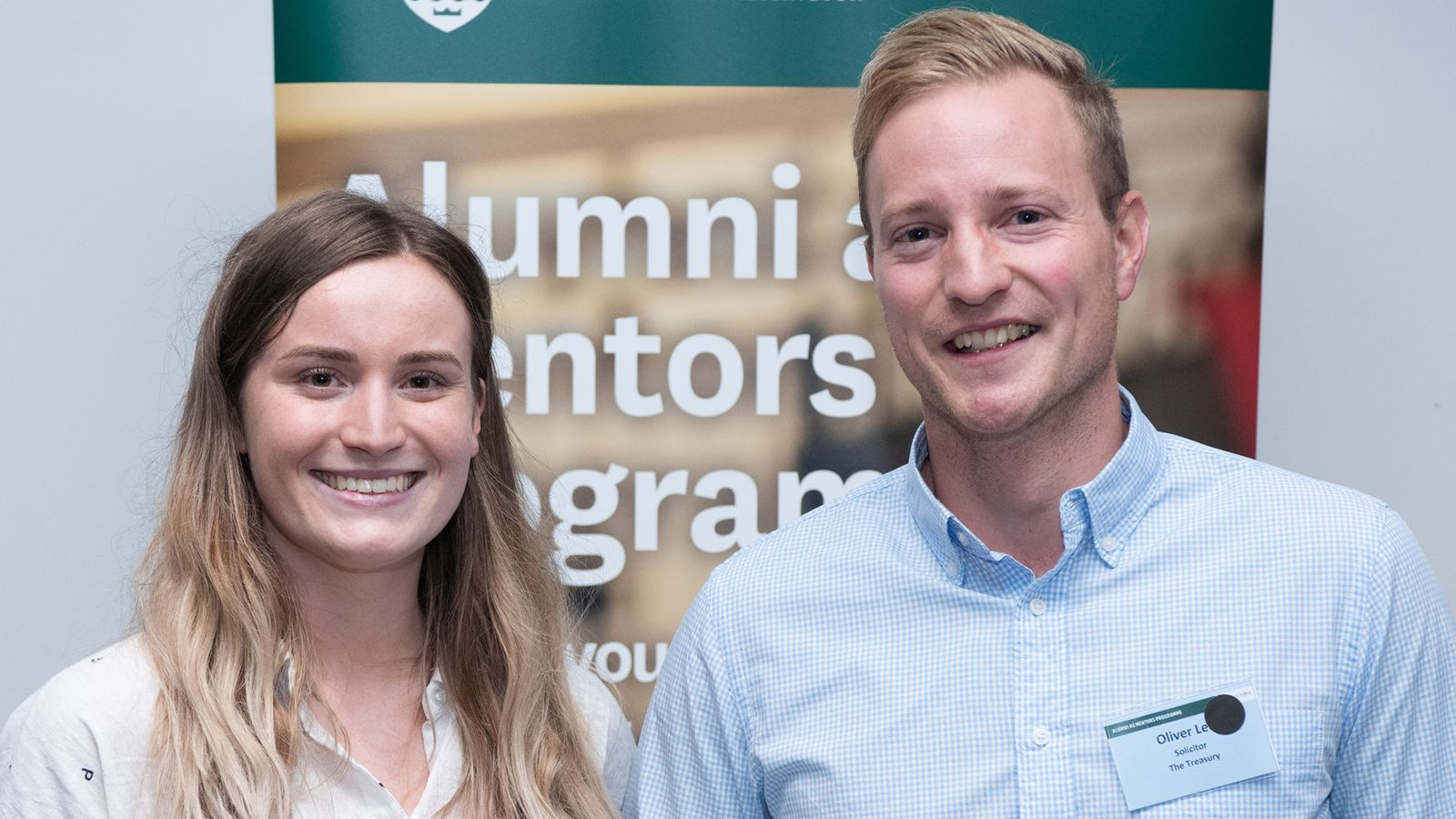 Richard London and Cara Askew working together as part of the Alumni as Mentors programme