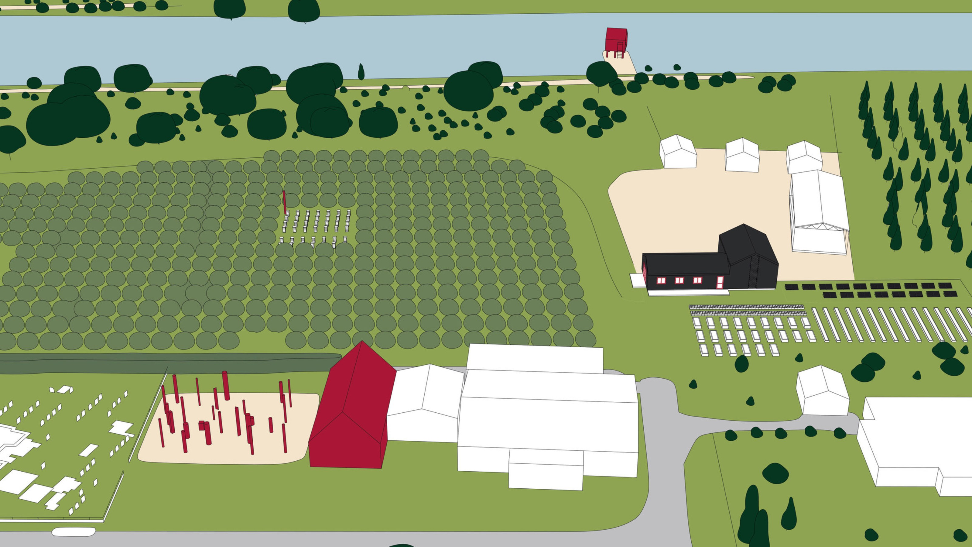 Digital drawing of a marae from above