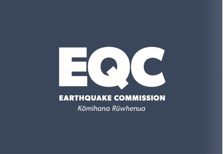 White text saying EQC on dark blue background