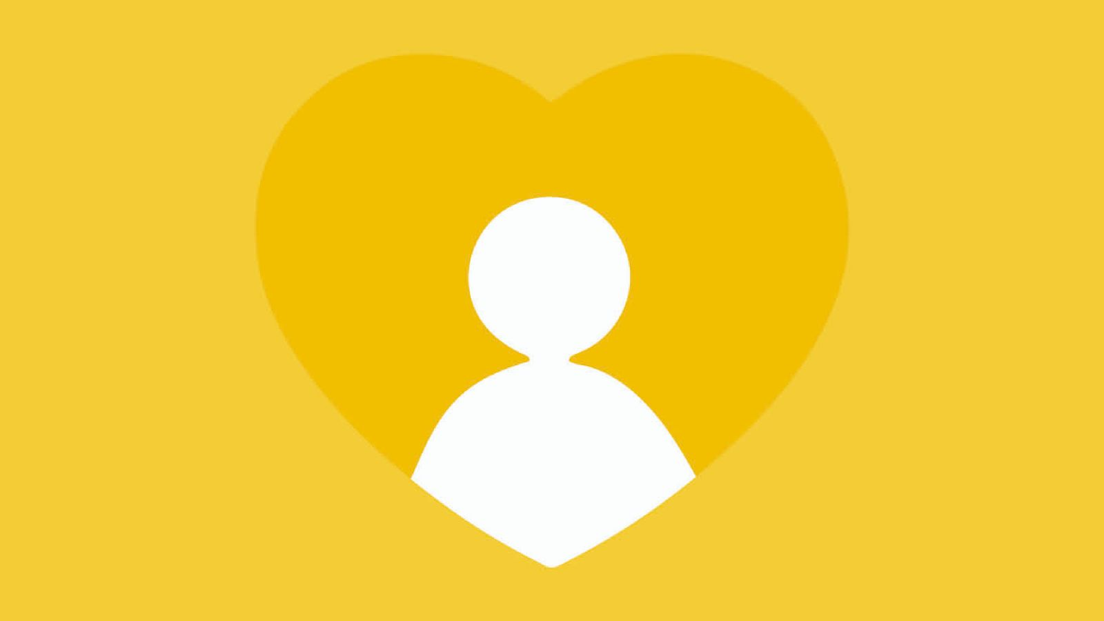 A white outline of a person in a yellow heart against a light yellow background.