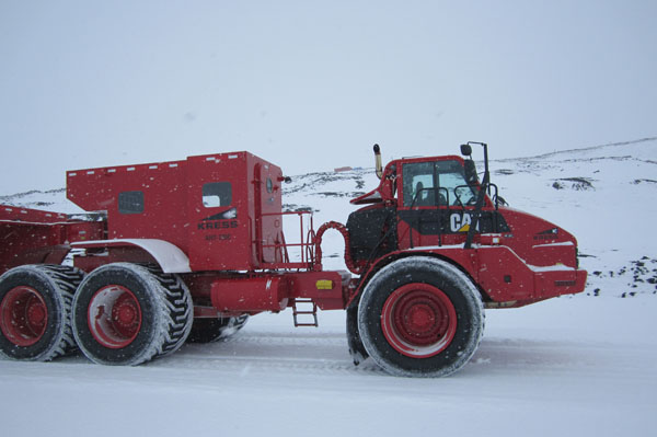 The McMurdo people mover. This enormous vehicle is used to transport passengers from McMurdo Station and Scott Base to and from the airfield c. Huw Horgan 2011-2012