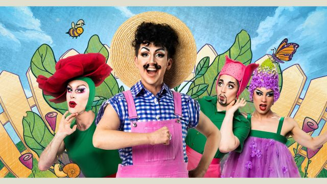 four people in colourful outfits dressed like farmer and flowers