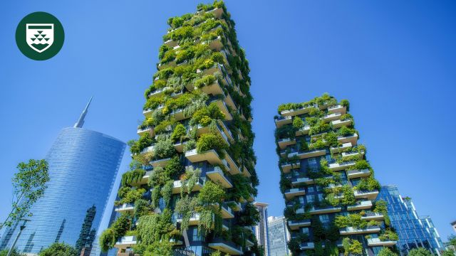 Skyscrapers with balconies covered in plants and greenery