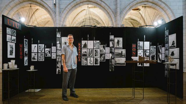 Ben Tunui with his project 'Utu' at NZIA awards