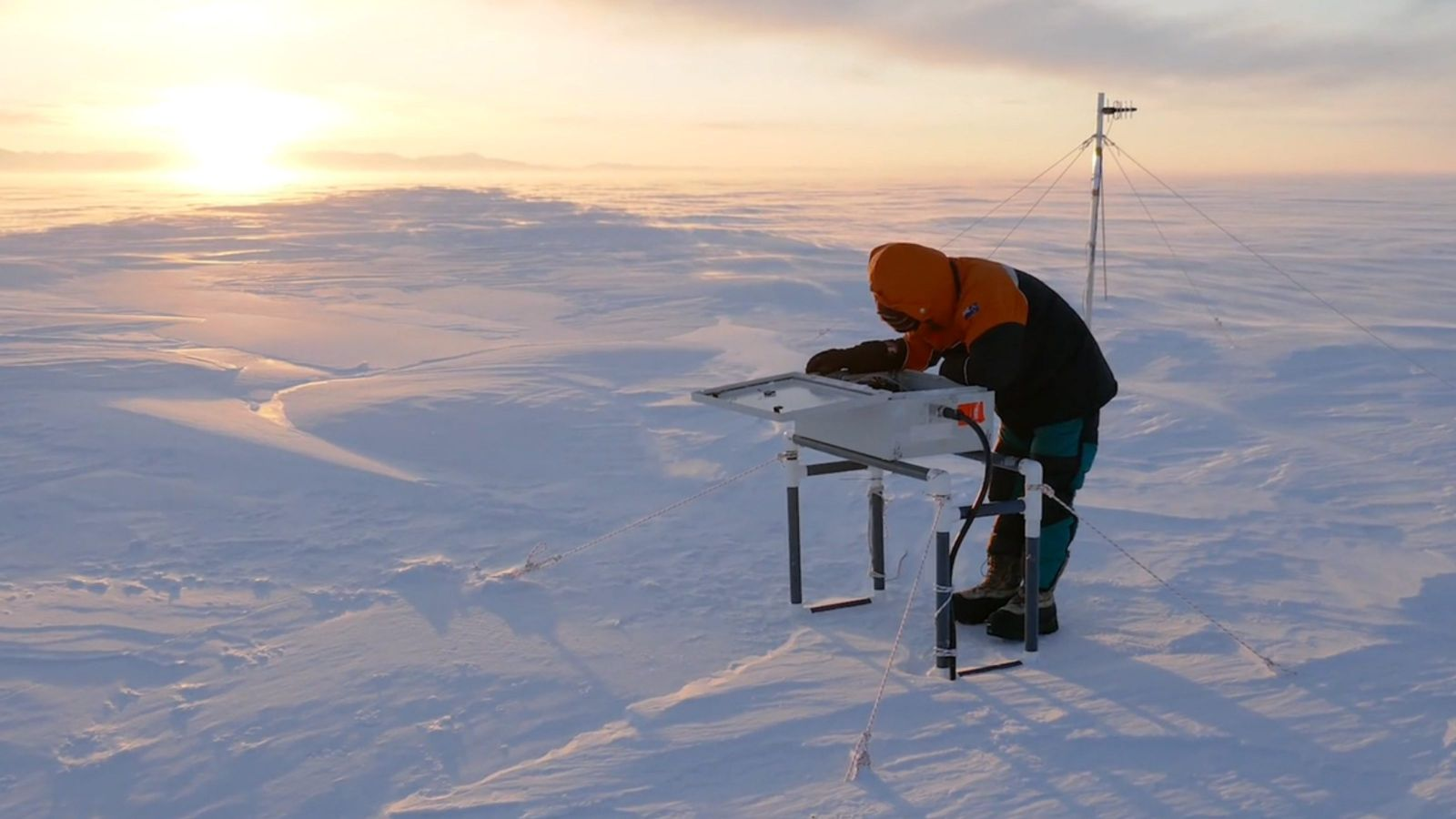 Scientist standing on ice sheet.