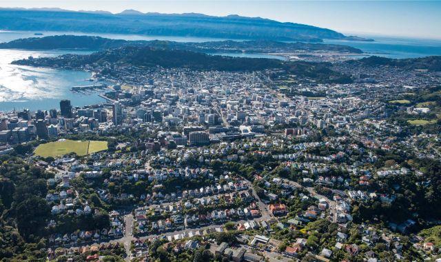 An aerial shot of Wellington city