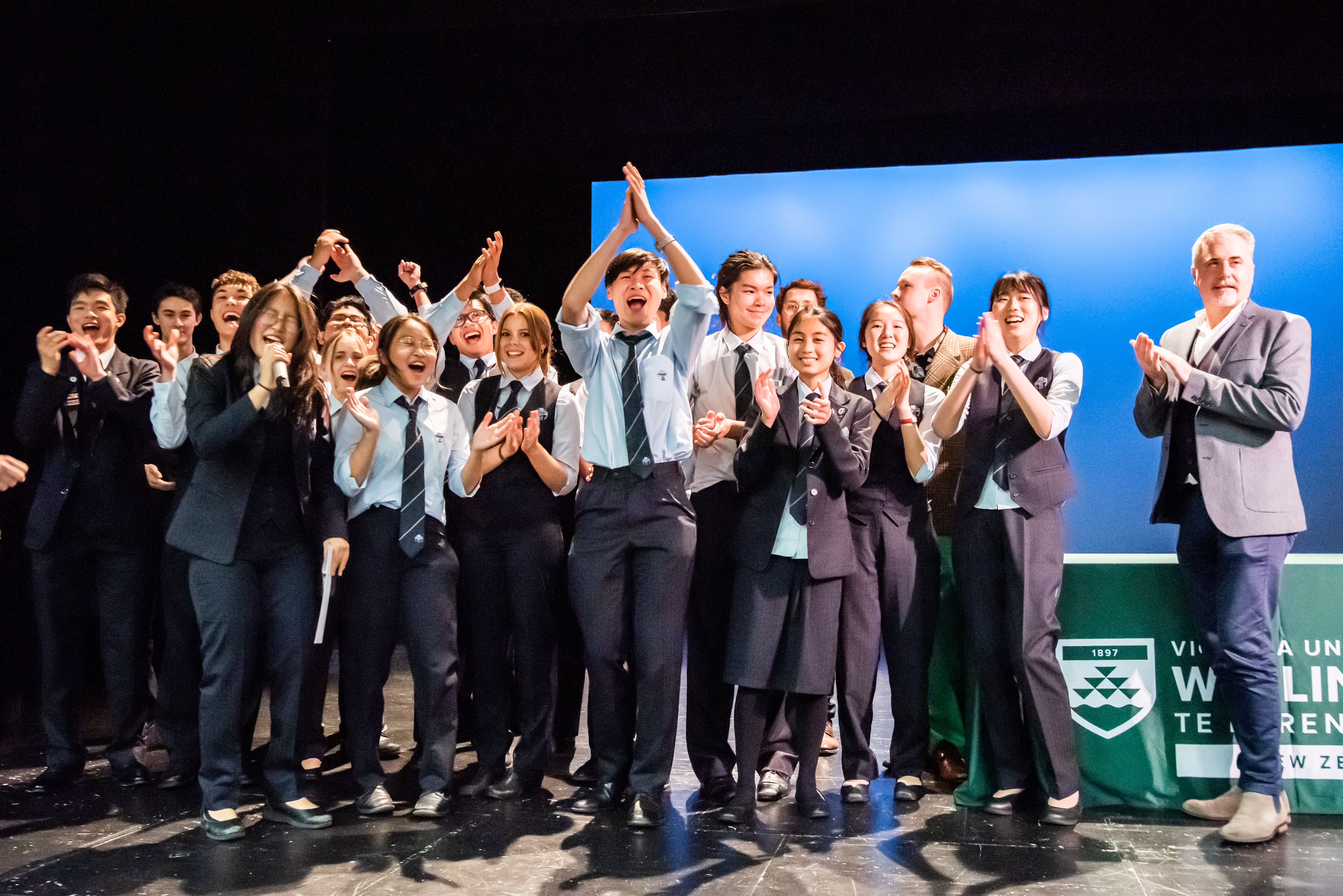 Lecturer Lance Philip alongside the Sancta Maria College Big Band, winners of the Jazz Project Most Outstanding Big Band.