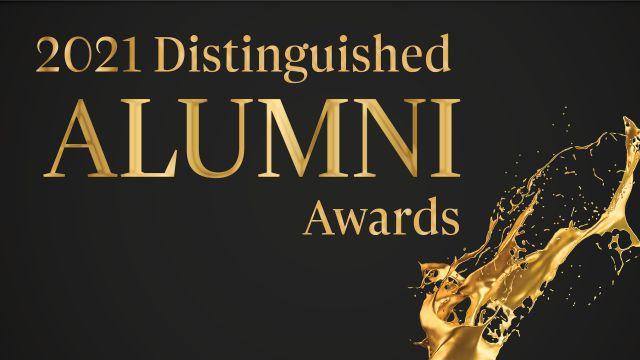 Distinguished alumni awards words against black background