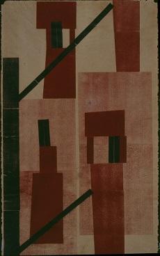 H.N. Werkman's druksel of red and black blocks, Chimneys 2, made in 1923.