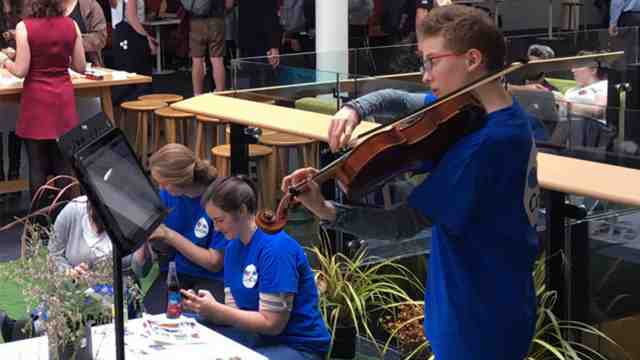 Georgia Steel plays the viola for students at Victoria.
