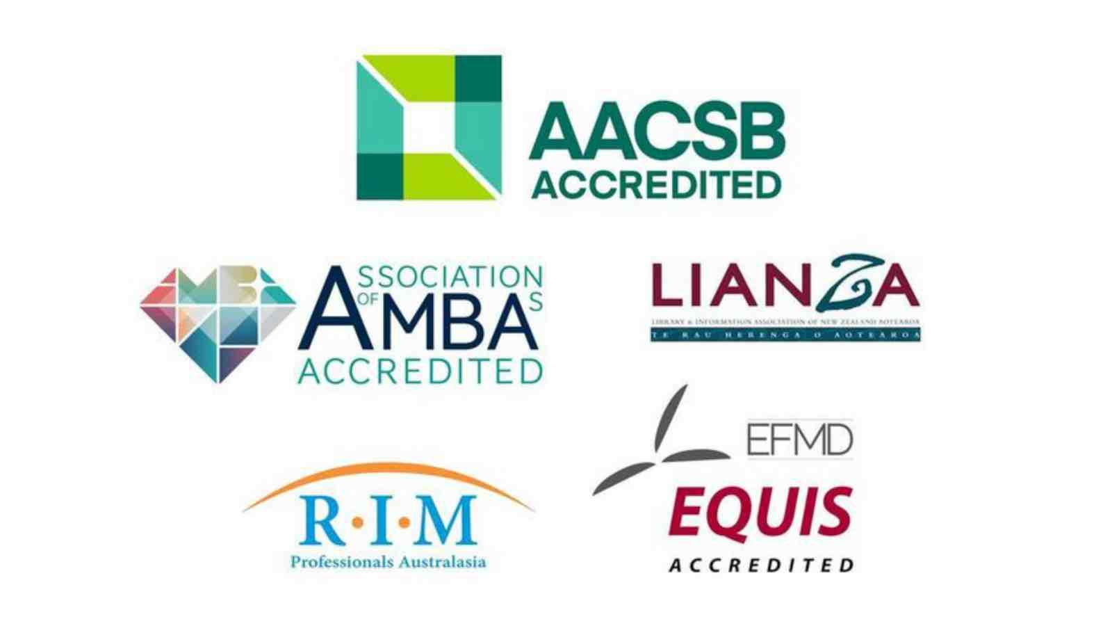 A colleciton of logos. AACSB, AMBA, LIANZA, RIM, EFMD.