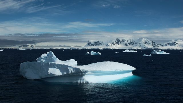 Ice berg drifts in the Antarctic ocean