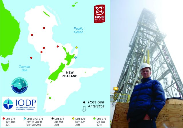 Left: Map of IODP sites. Right: Rob McKay on board the JOIDES Resolution in 2010.