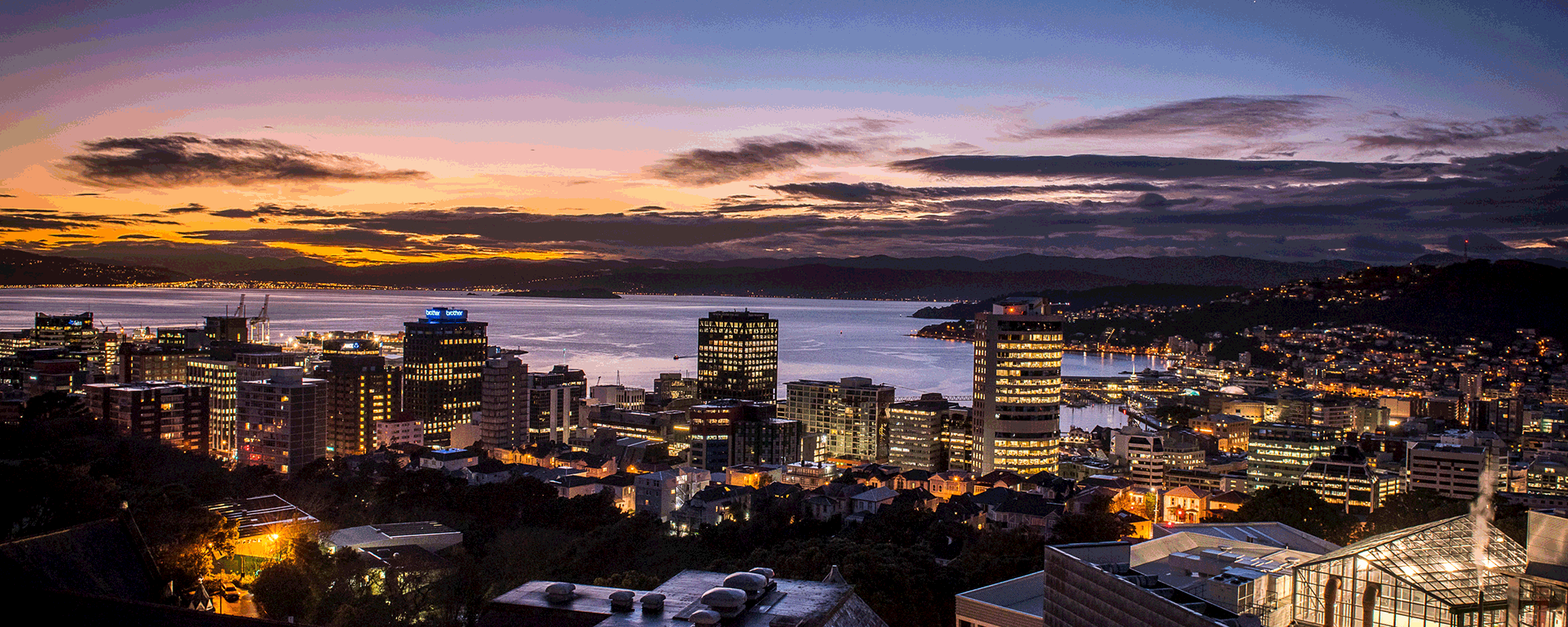 A cityscape image taken at dusk of Wellington.