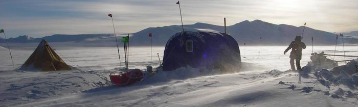 Camp at Mt Erebus, Antarctica