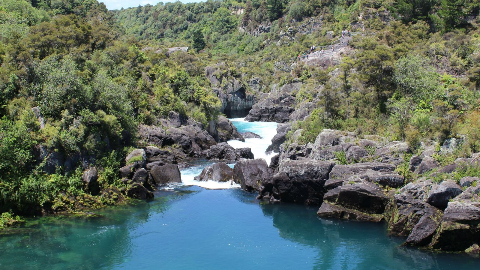 A blue river, in the centre of the photo, flows over rocks and into a pool, surrounded by greenery