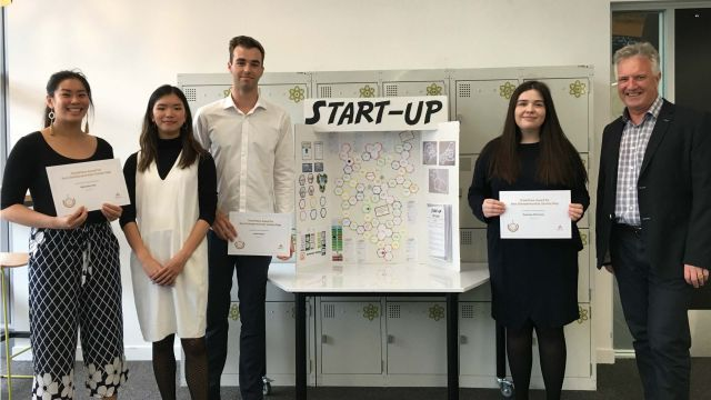 Creators of the Start-Up after being presented their certificates by ThinkPlace founder Jim Scully and Designer Cassandra Ong