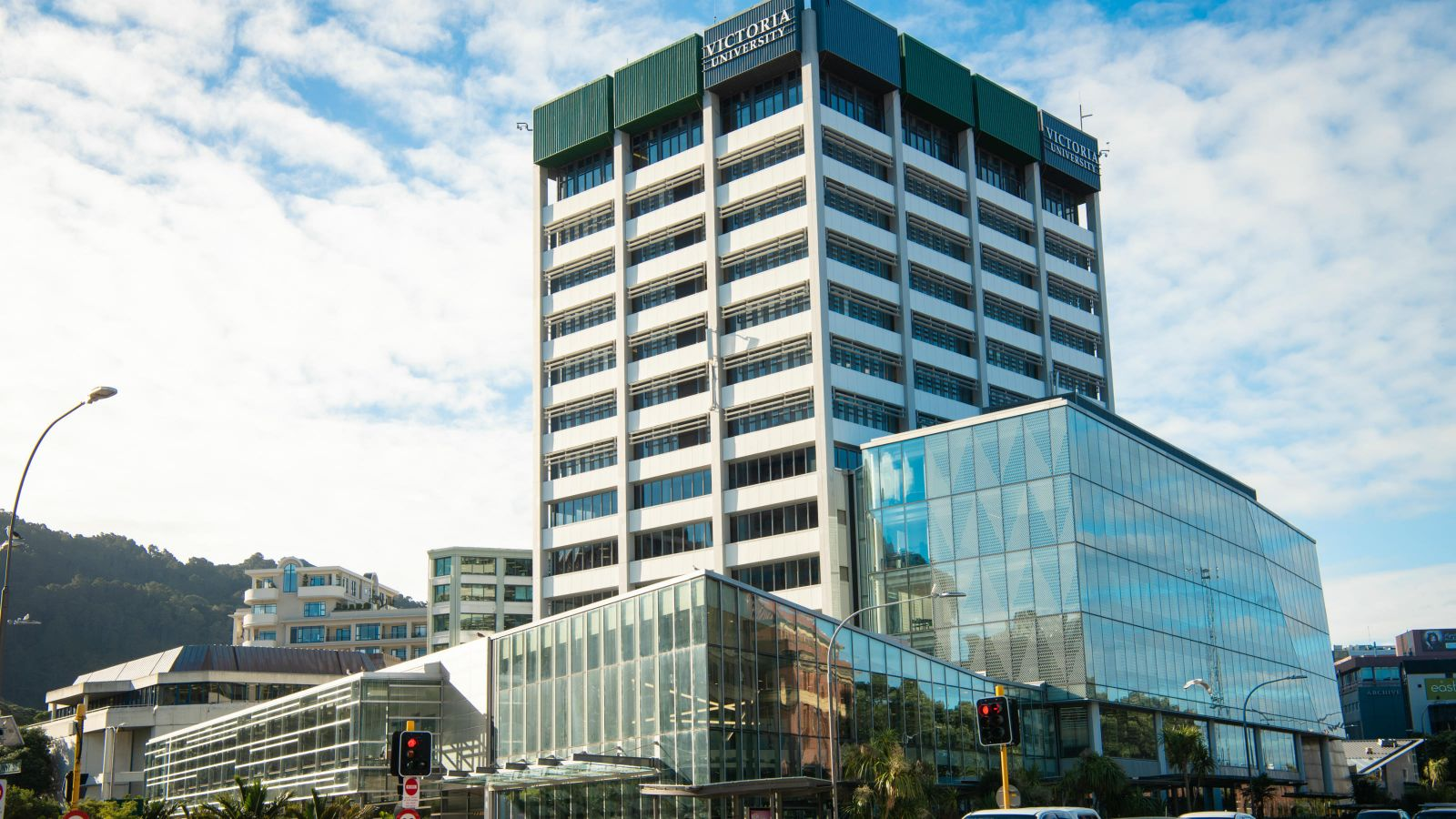 A view of Victoria University of Wellington's Rutherford House building from the street.