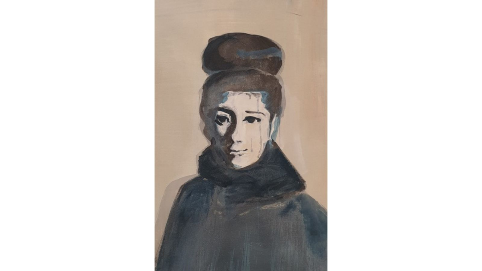 A watercolour drawing of a woman