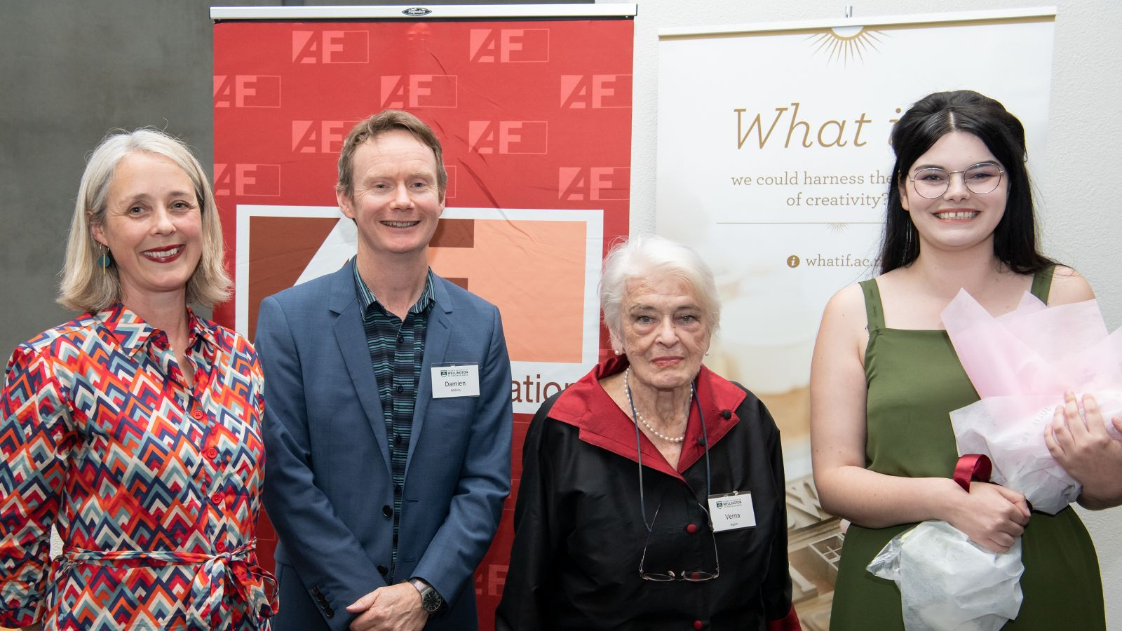 Four people pose for a photo, Kate Duignan, Damien Wilkins, Verna Adam, Rebecca K Reilly.