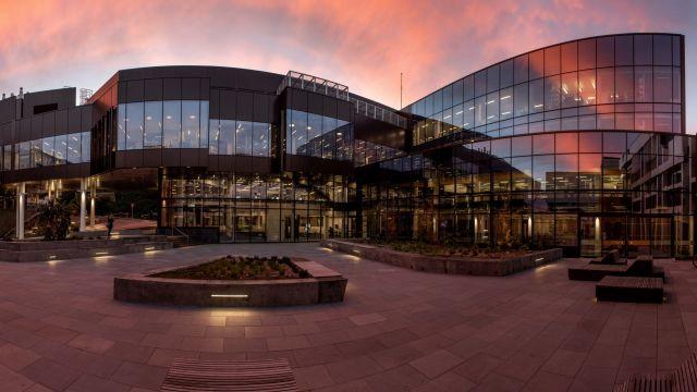 Te Toki a Rata building at sunset.