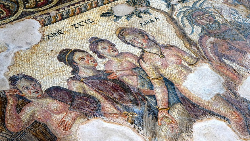 Mosaic depicting four women and a man.