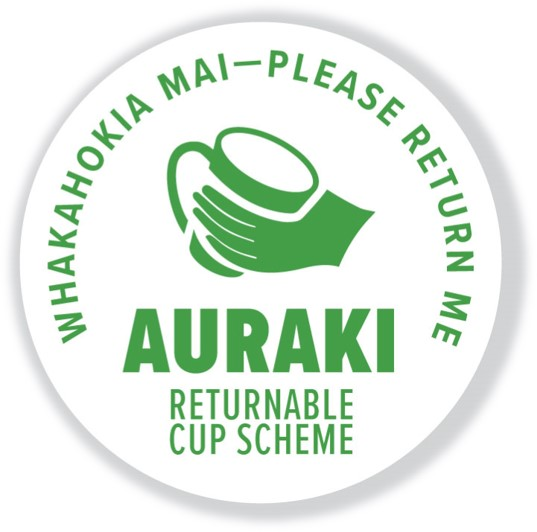 Auraki returnable cup scheme bi-lingual sticker.