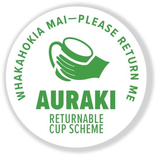 Auraki returnable cup scheme sticker