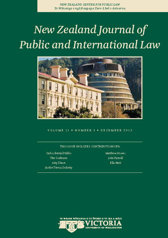 Book cover - New Zealand Journal of Public and International Law.