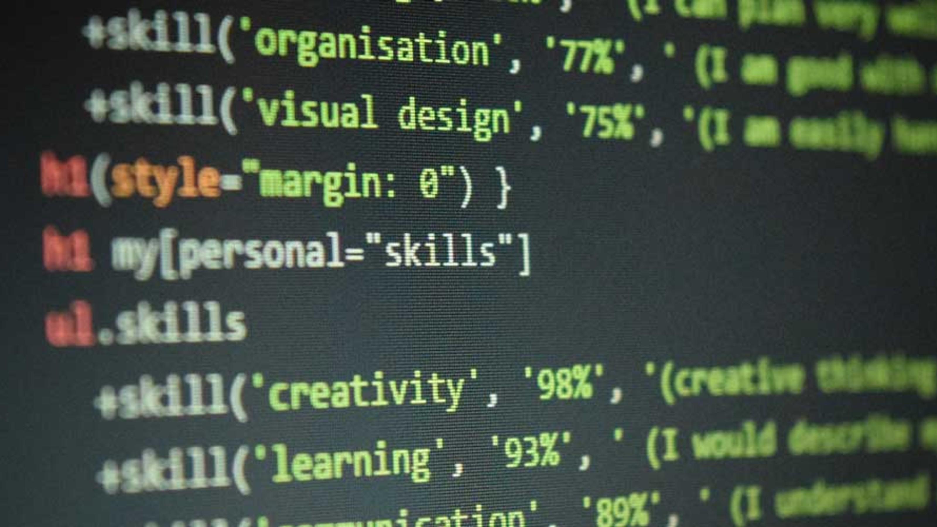 Code on a dark computer screen