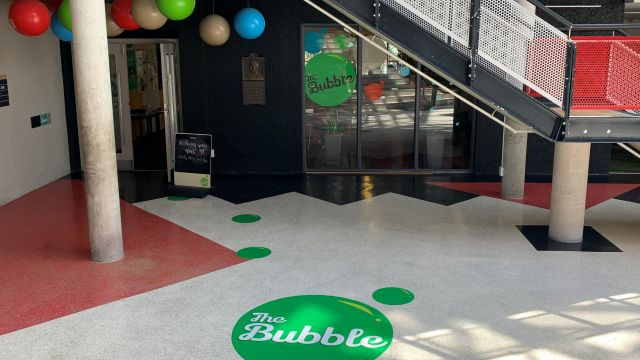 The outside of The Bubble wellbeing space.