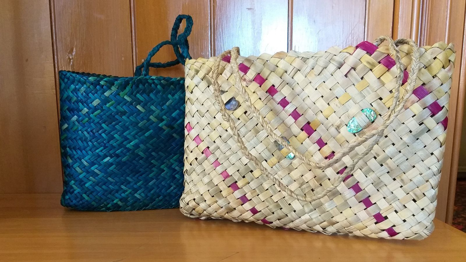 Photo of two woven kete