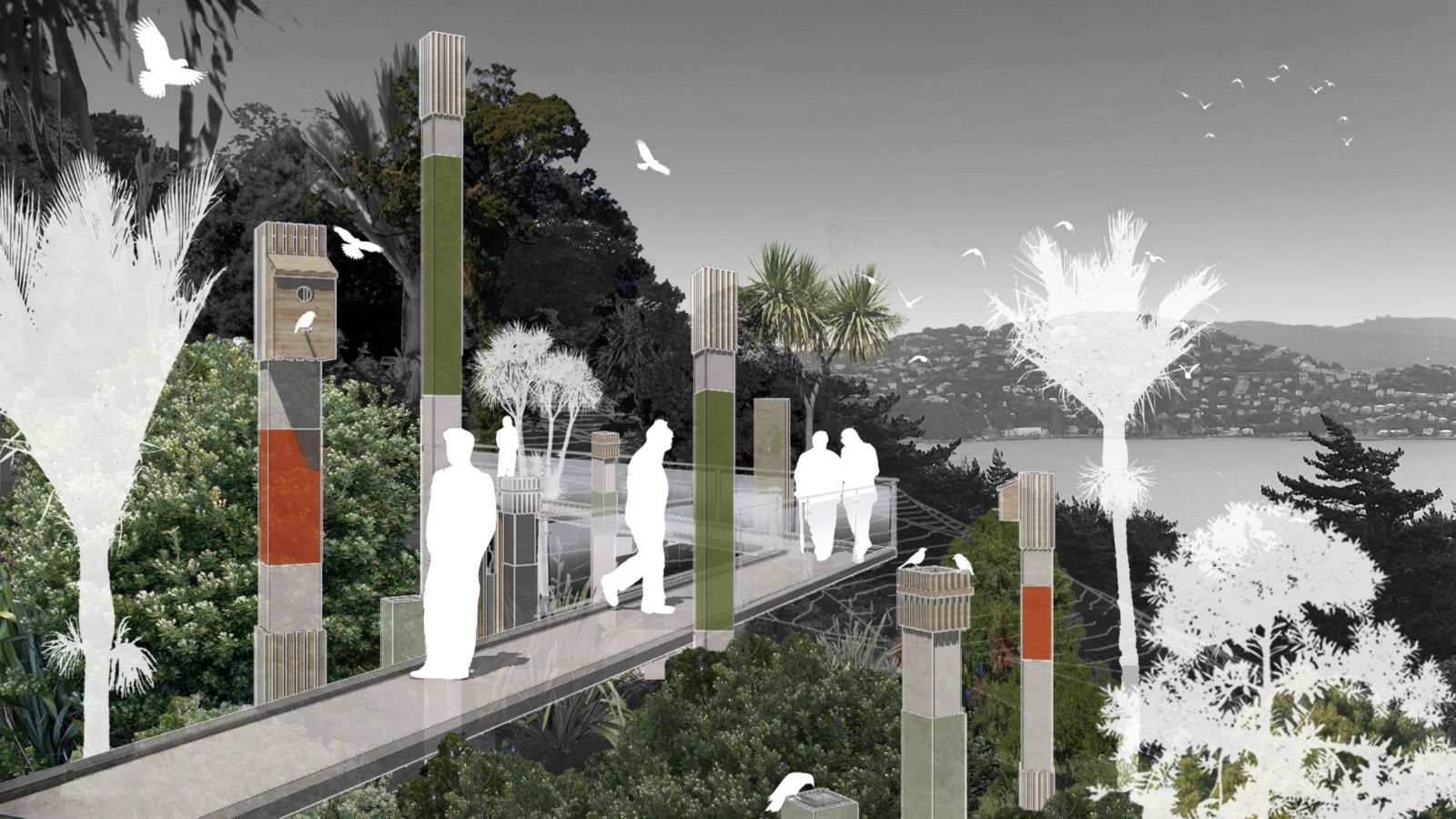 Design view of walking path in native bush, with white silhouettes of humans and birds.