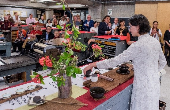 The tea ceremony at the launch of Best NZ Poems