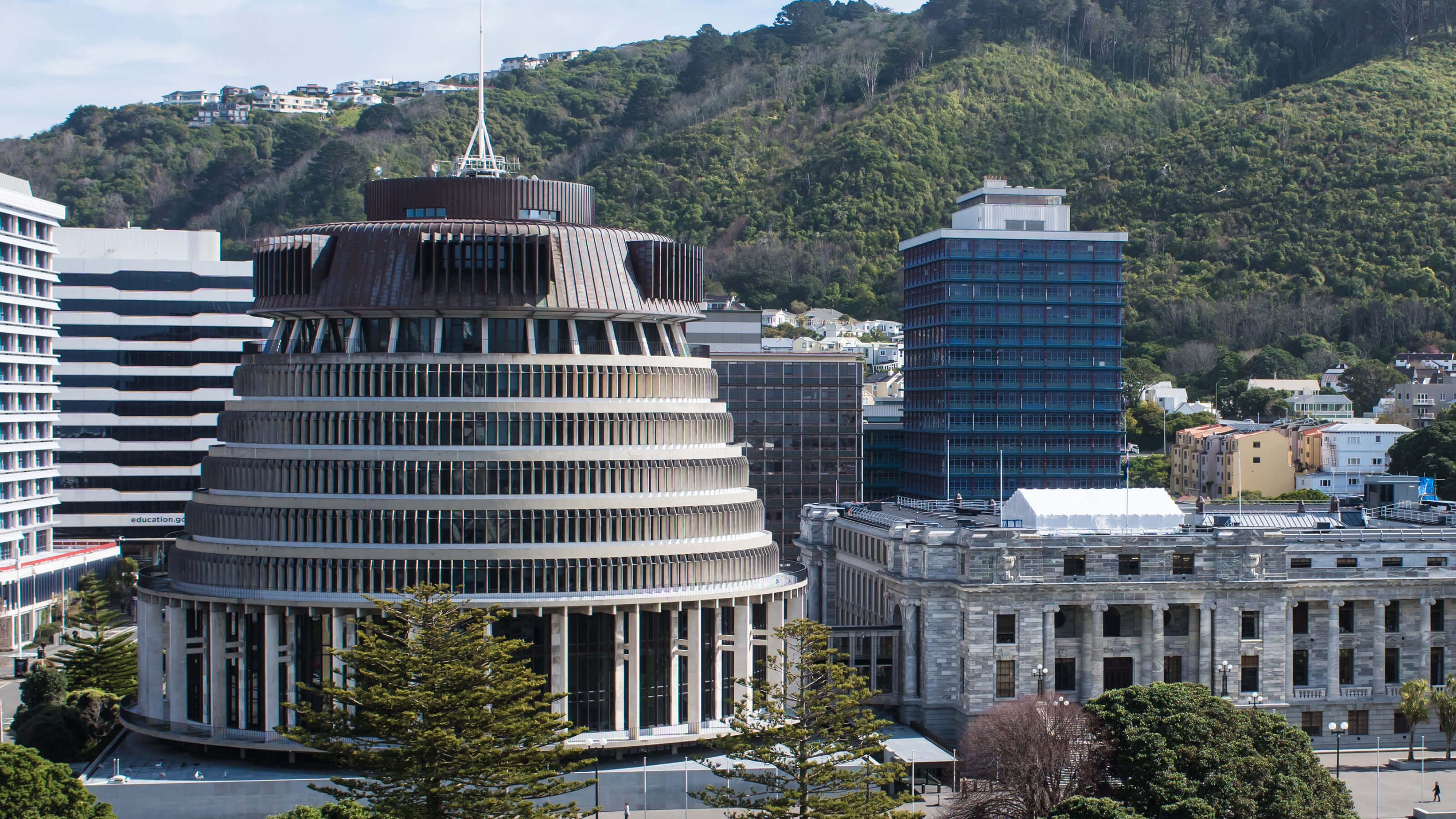 An image of the parliament buildings in Wellington, New Zealand.