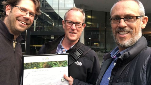 Andrew Wilkes (VUW Sustainability Manager), Tim Naish and Sean Weaver (Ekos)