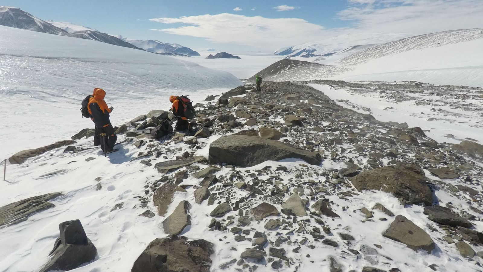 Students conducting research in the Football moraines, Idisto Inlet, Antarctica.